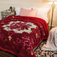 床上用品 双人双层盖毯婚庆毛毯加厚拉舍尔毛毯被子厚款 保暖秋冬毯子 定制! 1.5-1.8米床 200*230CM【8