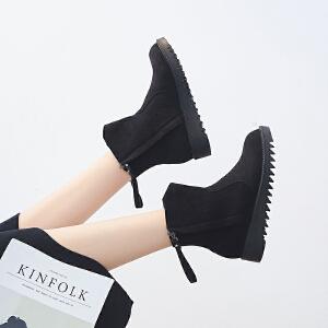 ZHR2018秋冬季新款平底切尔西靴英伦风厚底短靴加绒女靴百搭靴子