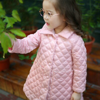 童装2018冬装新款女童中小童薄款菱格大口袋棉衣外套