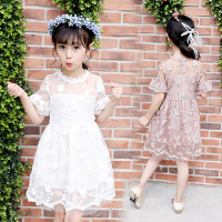 女童蕾丝连衣裙夏装童装新款超仙半袖刺绣软纱裙子儿童公主裙