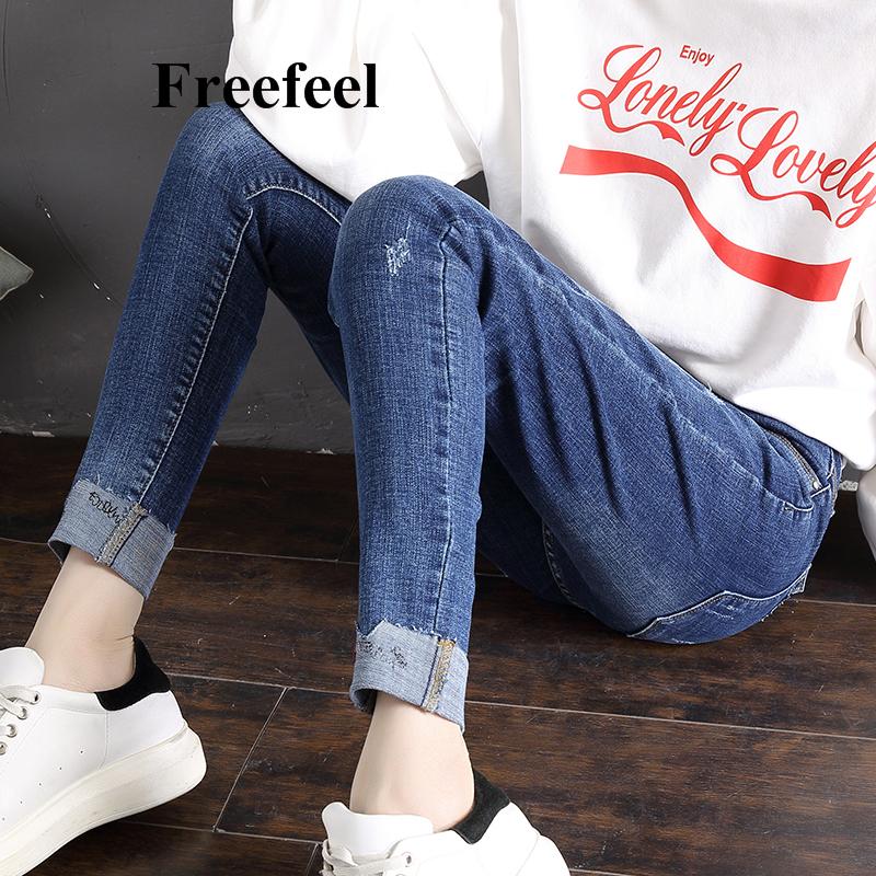Freefeel2018春夏新款牛仔裤女裤韩版修身卷边百搭铅笔裤