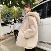 新款仿兔毛皮草外套女冬季2020�n版毛毛�q上衣�O型加厚�B帽中�L款