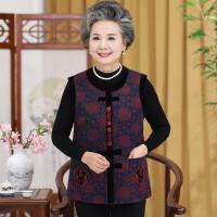 中老年人富贵奶奶装唐装大码外套60-70-80女春秋冬装圆领马甲上衣