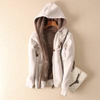 冬季加绒加厚连帽链开衫卫衣女韩版短款长袖大码宽松羊羔绒外套