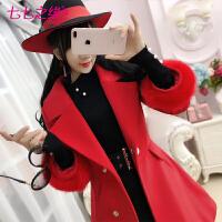 冬装新款女装 红色毛袖九分袖夹棉加厚毛呢外套大衣