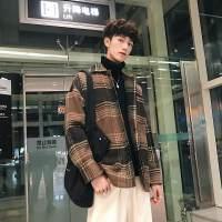 翻领格子毛呢大衣男士2018秋季新款宽松风衣青年韩版潮流百搭外套