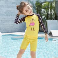 儿童泳衣女宝宝防晒游泳衣女童分体长袖女孩中小童泳装速干潜水服
