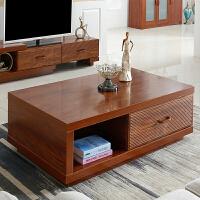实木色茶几电视柜家具套装组合小户型现代中式卧室地柜电视机柜 一屉茶几 1200*600*410 组装