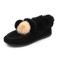 WARORWAR法国YM4-008新品秋冬韩版磨砂反绒平底鞋舒适女士短靴豆豆雪地靴