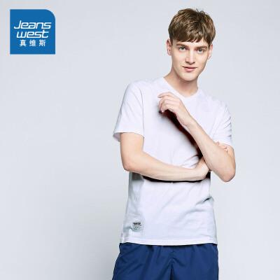 [1件3折价:16.5元]真维斯短袖T恤男 夏装男装韩版学生V领打底衫纯色上衣_2101 漂白色,S