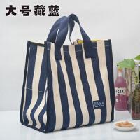 条纹帆布袋女韩版环保学生袋子大容量买菜包防水手提购物袋饭盒袋 其他