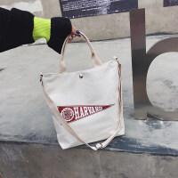 韩版简约帆布包女单肩手提大容量斜跨慵懒风文艺小清新ins购物袋