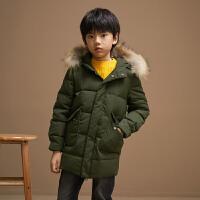 【1件5折�r:425】米喜迪mecity童�b冬新款男童羽�q服冬季�O型中�L款羽�q外套