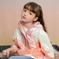 【1件4折价:111.6】moomoo童装女童外套春秋装新款儿童炫彩连帽时尚风衣女孩洋气上衣