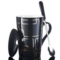 陶瓷杯子水杯马克杯简约情侣杯带盖勺咖啡杯牛奶杯