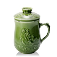 乾唐轩活瓷 鱼跃龙门三件杯 陶瓷杯泡茶杯 养生手柄带盖过滤水杯