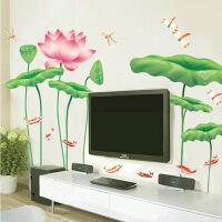 墙贴纸 可移除墙贴卧室客厅沙发电视背景墙贴画 荷叶荷花 特大