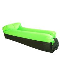 户外懒人空气沙发床 便捷式折叠枕头充气床沙滩睡袋休闲午休床垫 黑加绿色 枕头款