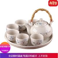 日韩式陶瓷茶具套装雪花瓷茶具家用带茶盘一壶6杯礼盒茶具* 自店营年货 8件