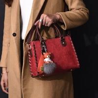 包包冬季新款欧美时尚百搭手提女包复古女士大容量单肩斜挎包 酒红色 挂件颜色随机