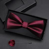 正装婚礼礼服蝴蝶结领结礼盒装男士领结男伴郎新郎酒红暗纹领结