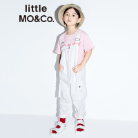 littlemoco夏季新品男女童背带裤进口白色牛仔全棉工装风背带长裤