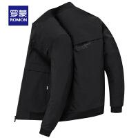 【6.15-6.20预估到手价:110】罗蒙(ROMON)男士棒球领夹克外套中青年2021春季新款韩版潮流字母印花上衣