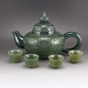 和田玉青玉薄胎茶壶茶具一套天然玉石茶具