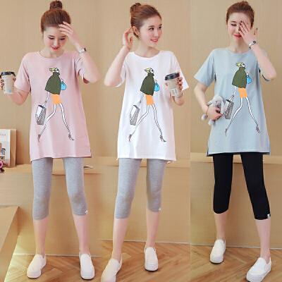 七分裤两件套潮妈孕妇夏装套装2018新款韩版短袖孕妇上衣T恤托腹