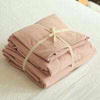 新款水洗棉四件套纯色全棉纯棉床单床笠被套素色简约床上