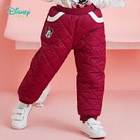 【3件2.6折到手价:65】迪士尼Disney童装 甜美女宝夹棉保暖长裤女童三层防寒棉裤冬季新品裤子194K856