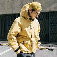 男士工装连帽棉衣机能运动袄情侣bf风冬季外套