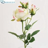 单支三头小玫瑰 仿真花玫苞 家居摆件仿真植物 仿真玫瑰 整体高度66cm,花头直径10cm.花头高度7c