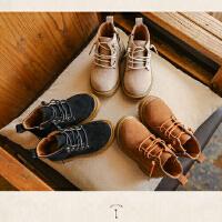 韩式帅气小童雪地靴 3-4岁宝宝拍照皮鞋 绒面皮靴影楼摄影靴子