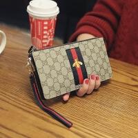 新款韩版女士钱包真皮手包大容量手机位长款牛皮拉链手拿包潮 杏色 12卡位