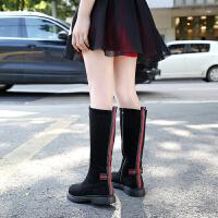 儿童靴子长筒靴二棉2018秋冬季新款女童马丁靴韩版中大童女孩长靴