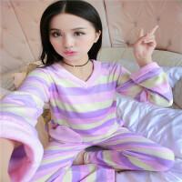 睡衣女冬条纹长袖韩版家居服套装可爱女生加厚珊瑚绒两件套