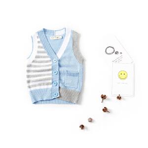 2018春装新款童装小童男童马甲背心条纹拼色不对称V领儿童毛衣针织开衫