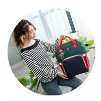 双肩包妈咪包韩版多功能妈咪袋大容量母婴包时尚宝妈外出旅游背包 军绿色 绿蓝红 三色