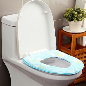 【年货节】欧润哲 法兰绒保暖厕所垫 加厚通用坐便器垫圈坐便套太阳花防水马桶垫
