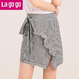 Lagogo2018夏季新款时尚系带不规则高腰半身裙女荷叶边格子短裙HABB143C42