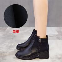 马丁靴女学生韩版百搭2018新款靴子ins粗跟短筒加绒短靴高跟冬鞋
