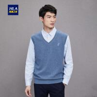 HLA/海澜之家背心式双领针织衫2018秋季新品舒适清爽长袖针织衫男