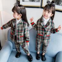 儿童女宝宝春秋装西装套装女童0小西服2外套洋气4两件套1-3周岁潮yly 绿格子款