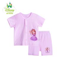 迪士尼(Disney)婴儿衣服夏季套装前开扣短袖短裤纯棉套装162T641