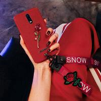 OPPO R17手机壳挂脖挂绳壳红玫瑰花r17pro硅胶套网红潮钻保护壳女 R17 【红壳玫瑰花】
