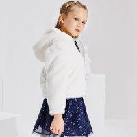 【2件2.5到手价:117.5】米喜迪mecity童装女童棉服天使翅膀绣花毛绒仿皮草外套