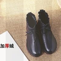 真皮����鞋棉鞋冬季保暖加�q中年短靴女�底舒�m中老年人平底皮鞋SN5556 35 加�q