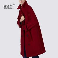 魅斑西装领羊毛呢外套女中长款宽松显瘦2019新款茧型呢子大衣外套