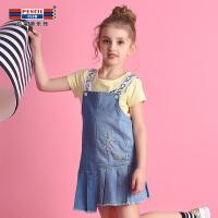 【3件2折:59.8】铅笔俱乐部童装2020夏季新款女童牛仔连衣裙中大童背带裙儿童裙子